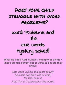 Word Problem Clue Word Sort Fun and Informative Assessment Homework interactive