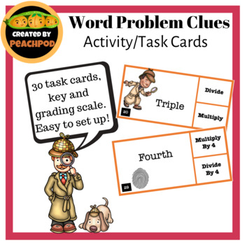 Word Problem Clues: Task Cards/Center/Activity