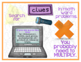 Word Problem Clues - Words to Watch For - MATH POSTERS - SET of 4