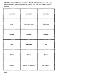 Word Problem Code Words Memory Game