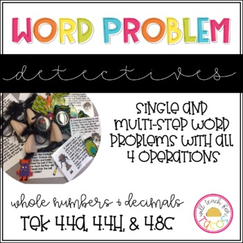 Multi-step Word Problem Detective Task Cards 4.4A 4.4H 4.8C