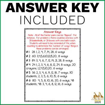 4.OA.4 Word Problems with Factors and Answer Key