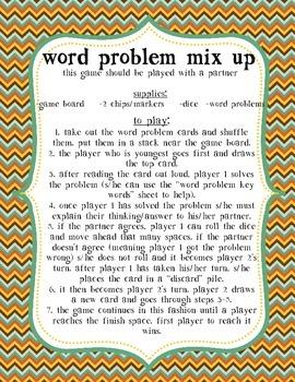 Word Problem File Folder Game