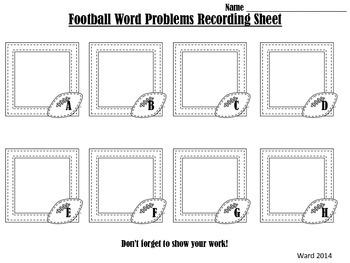 Word Problem Freebie: Football Edition