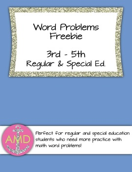 Word Problem Freebie- Mixed Operations 3rd-5th Regular and Special Ed