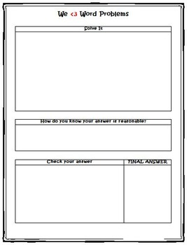 Word Problem Graphic Organizer for Struggling Students