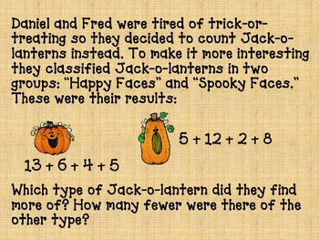 Word Problem (Halloween, Jack-o-lanterns)