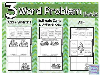 Word Problem Holiday Sort - Add, Subtract, Estimate Sums, Estimate Differences