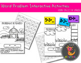 Word Problem Interactive Activities Count On 1, 2, 3 in SPANISH