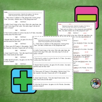 Word Problem Interactive Game: Add or Subtract Key Words