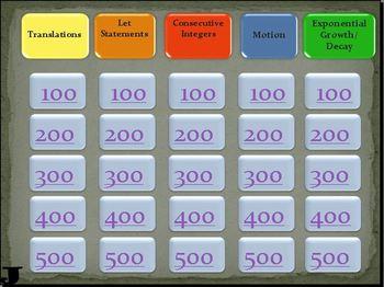 Word Problem Jeopardy