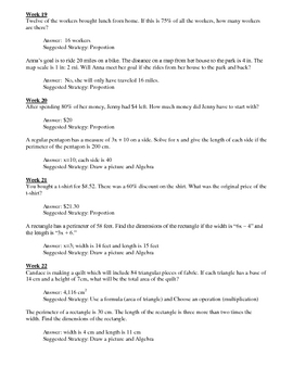 Word Problem Journal - Middle School - Level 2