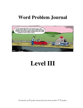Word Problem Journal - Middle School - Level 3