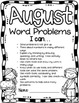 Word Problem Journal Pages with Monthly Covers *Glue on a Word Problem and Go!*