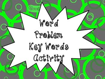 Word Problem Key Word Activity