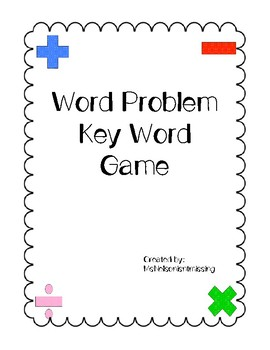 Word Problem Key Word Game