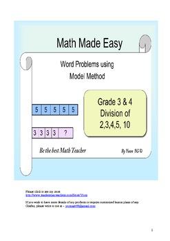 Word Problem Made Easy - Model Method (Singapore) Grade 3 &4 Division