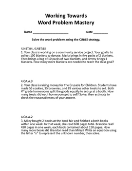 Word Problem Mastery Guided Notes Packet