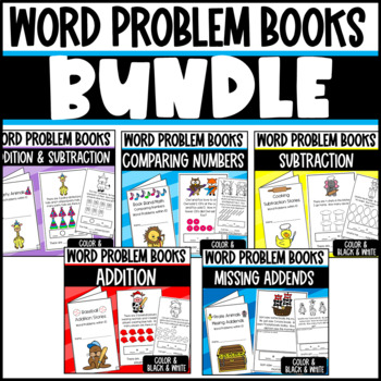Word Problem Math Book Bundle: Addition, Subtraction, Comparing, Missing Addend