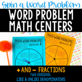 Word Problem Math Centers | Fraction Word Problems