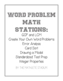 Word Problem Math Stations: LCM, GCF, Integers, Review