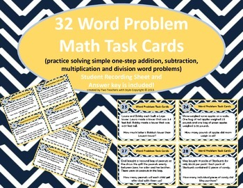 Word Problem Math Task Cards (add, subtract, divide and multiply)