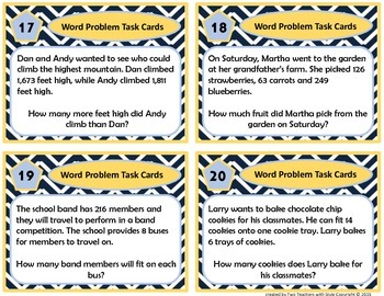 Word Problem Math Task Cards - add , subtract , divide and multiply