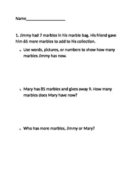 Word Problem Number Bonds Addition and Subtraction