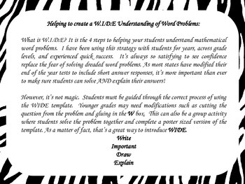 Word Problem Organizer: W.I.D.E. Strategy