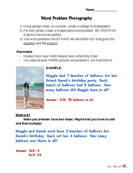 Word Problem Photography- A Multiplication Mastery Project