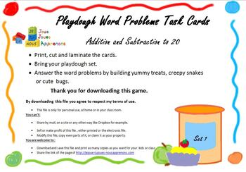 Word Problem Playdough Task Cards