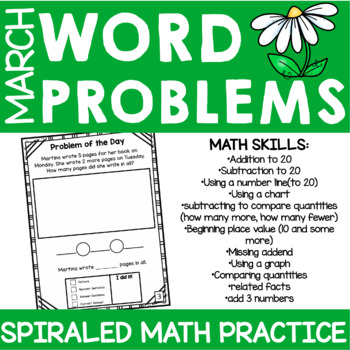 First Grade Word Problem Practice- March