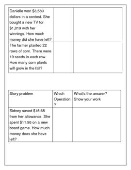 Word Problem Practice Math Center
