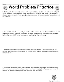 Word Problem Practice Worksheets