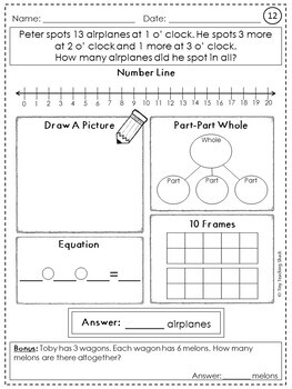 Word Problem Practice Sheets- 3 Whole Numbers 1.OA.A.2