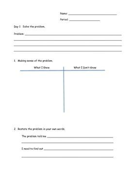 Word Problem Problem Solving Worksheet