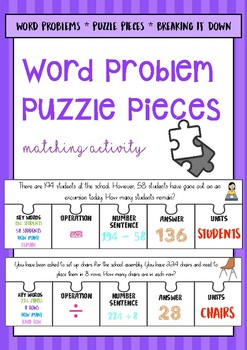 Word Problem Puzzle Pieces (Task Cards)