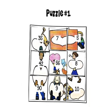 Word Problem Puzzles February Math Center