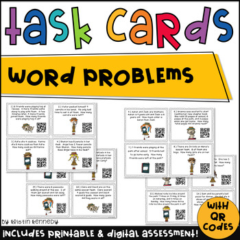 Word Problem QR Code Task Cards {Addition & Subtraction Wi