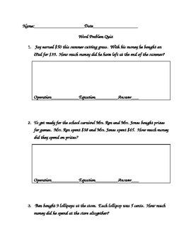 Word Problem Quiz 2