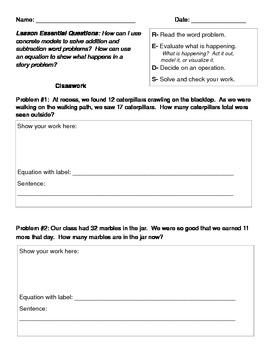 Word Problem Recording Sheet