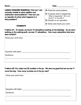 Word Problem Recording Sheet
