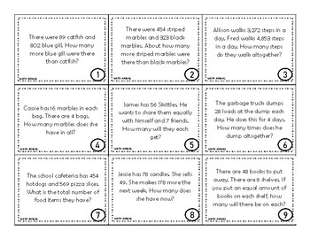 Word Problem Task Cards 3rd grade Math: Addition and Subtraction