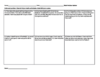 Word Problem Review Template