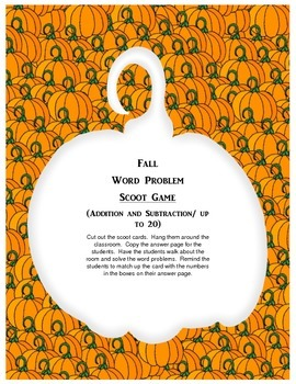 Fall Word Problem Scoot Game
