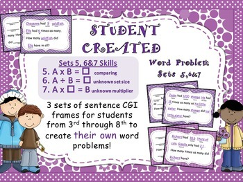Word Problem Sentence Stem Starter Frames for Multiplication and Division BUNDLE