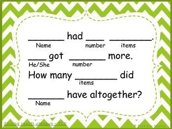 Word Problem Sentence Stem Started Frames CGI for Add-Subtract Set 1 Task Cards