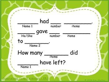 Word Problem Sentence Stem Starter Frames CGI for Addition Subtraction Set 2