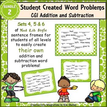 Word Problem Sentence Stem Starter Frames CGI for Addition