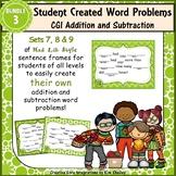 Word Problem Sentence Stem Started Frames CGI Add Subtract Task Cards Set 3